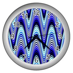 Waves Wavy Blue Pale Cobalt Navy Wall Clocks (silver)