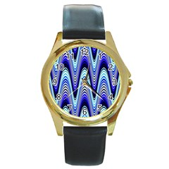 Waves Wavy Blue Pale Cobalt Navy Round Gold Metal Watch
