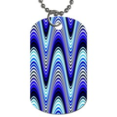 Waves Wavy Blue Pale Cobalt Navy Dog Tag (Two Sides)
