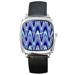 Waves Wavy Blue Pale Cobalt Navy Square Metal Watch