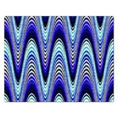 Waves Wavy Blue Pale Cobalt Navy Rectangular Jigsaw Puzzl