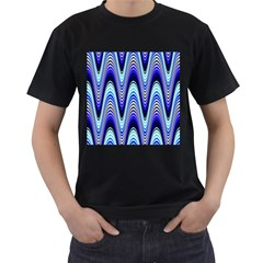 Waves Wavy Blue Pale Cobalt Navy Men s T-Shirt (Black) (Two Sided)