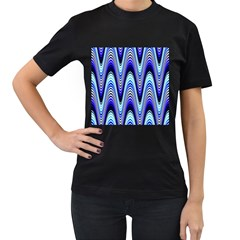 Waves Wavy Blue Pale Cobalt Navy Women s T-Shirt (Black) (Two Sided)