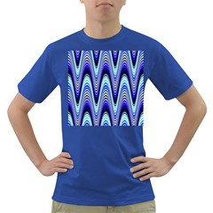 Waves Wavy Blue Pale Cobalt Navy Dark T Shirt