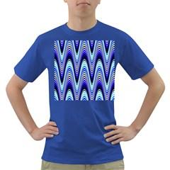 Waves Wavy Blue Pale Cobalt Navy Dark T-Shirt