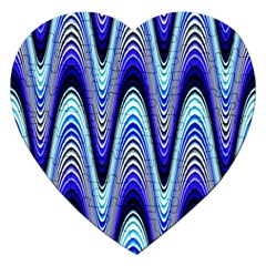 Waves Wavy Blue Pale Cobalt Navy Jigsaw Puzzle (Heart)