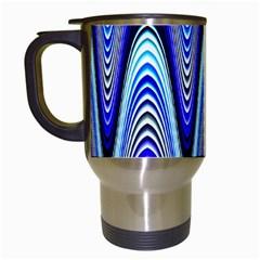 Waves Wavy Blue Pale Cobalt Navy Travel Mugs (white)