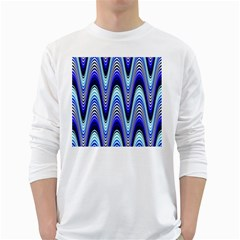 Waves Wavy Blue Pale Cobalt Navy White Long Sleeve T-Shirts