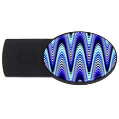 Waves Wavy Blue Pale Cobalt Navy Usb Flash Drive Oval (4 Gb)