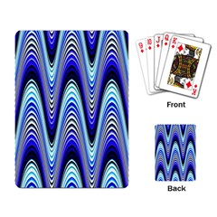 Waves Wavy Blue Pale Cobalt Navy Playing Card