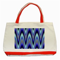 Waves Wavy Blue Pale Cobalt Navy Classic Tote Bag (red)