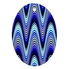 Waves Wavy Blue Pale Cobalt Navy Oval Ornament (Two Sides)