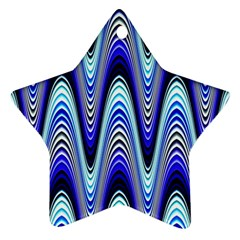 Waves Wavy Blue Pale Cobalt Navy Star Ornament (Two Sides)