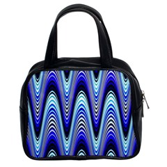 Waves Wavy Blue Pale Cobalt Navy Classic Handbags (2 Sides)