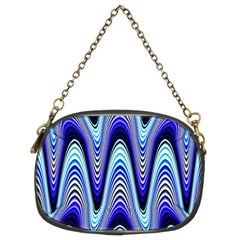 Waves Wavy Blue Pale Cobalt Navy Chain Purses (Two Sides)