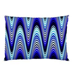 Waves Wavy Blue Pale Cobalt Navy Pillow Case