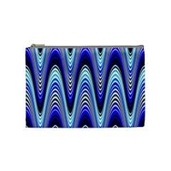 Waves Wavy Blue Pale Cobalt Navy Cosmetic Bag (Medium)