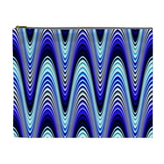 Waves Wavy Blue Pale Cobalt Navy Cosmetic Bag (xl)