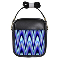 Waves Wavy Blue Pale Cobalt Navy Girls Sling Bags