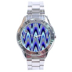 Waves Wavy Blue Pale Cobalt Navy Stainless Steel Analogue Watch