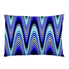 Waves Wavy Blue Pale Cobalt Navy Pillow Case (two Sides)
