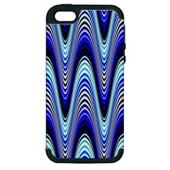 Waves Wavy Blue Pale Cobalt Navy Apple iPhone 5 Hardshell Case (PC+Silicone)