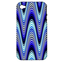Waves Wavy Blue Pale Cobalt Navy Apple Iphone 4/4s Hardshell Case (pc+silicone)
