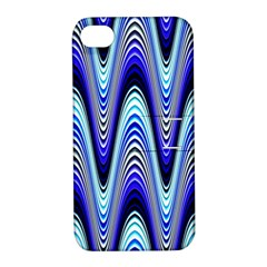Waves Wavy Blue Pale Cobalt Navy Apple Iphone 4/4s Hardshell Case With Stand