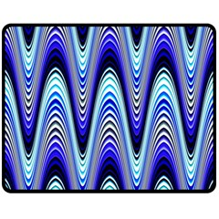 Waves Wavy Blue Pale Cobalt Navy Double Sided Fleece Blanket (Medium)