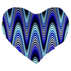 Waves Wavy Blue Pale Cobalt Navy Large 19  Premium Flano Heart Shape Cushions
