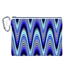 Waves Wavy Blue Pale Cobalt Navy Canvas Cosmetic Bag (L)