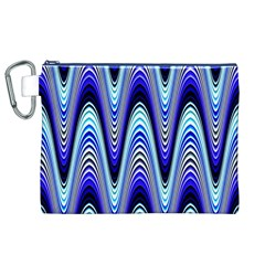 Waves Wavy Blue Pale Cobalt Navy Canvas Cosmetic Bag (xl)