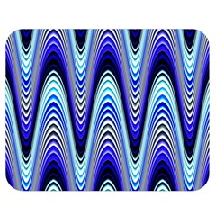 Waves Wavy Blue Pale Cobalt Navy Double Sided Flano Blanket (Medium)
