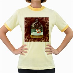 Winter Snow Ball Snow Cold Fun Women s Fitted Ringer T-Shirts
