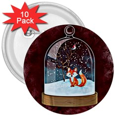 Winter Snow Ball Snow Cold Fun 3  Buttons (10 pack)