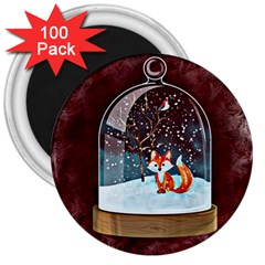 Winter Snow Ball Snow Cold Fun 3  Magnets (100 pack)