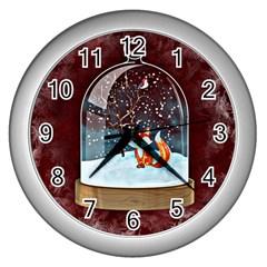 Winter Snow Ball Snow Cold Fun Wall Clocks (silver)