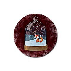 Winter Snow Ball Snow Cold Fun Rubber Round Coaster (4 pack)