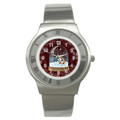 Winter Snow Ball Snow Cold Fun Stainless Steel Watch