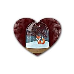 Winter Snow Ball Snow Cold Fun Rubber Coaster (Heart)