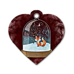Winter Snow Ball Snow Cold Fun Dog Tag Heart (Two Sides)