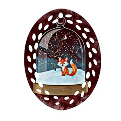 Winter Snow Ball Snow Cold Fun Oval Filigree Ornament (two Sides)