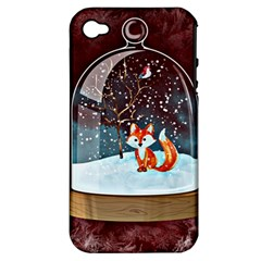 Winter Snow Ball Snow Cold Fun Apple Iphone 4/4s Hardshell Case (pc+silicone)