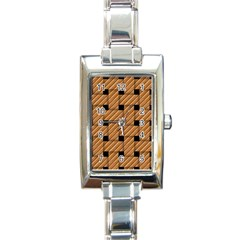 Wood Texture Weave Pattern Rectangle Italian Charm Watch