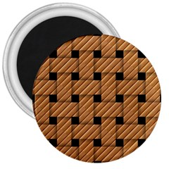Wood Texture Weave Pattern 3  Magnets