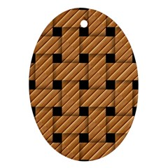 Wood Texture Weave Pattern Ornament (oval)