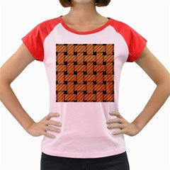 Wood Texture Weave Pattern Women s Cap Sleeve T-Shirt