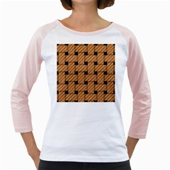 Wood Texture Weave Pattern Girly Raglans