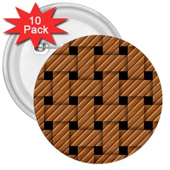Wood Texture Weave Pattern 3  Buttons (10 pack)