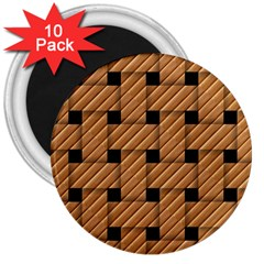 Wood Texture Weave Pattern 3  Magnets (10 Pack)